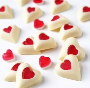 White chocolate hearts with jelly sweet centers