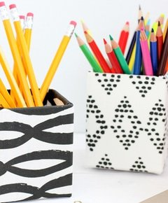 Diy fabric covered pencil cup 8