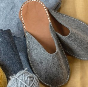 Diy felt leather slippers 3