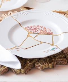 Original gold hand painted kintsugi fine bone china plate