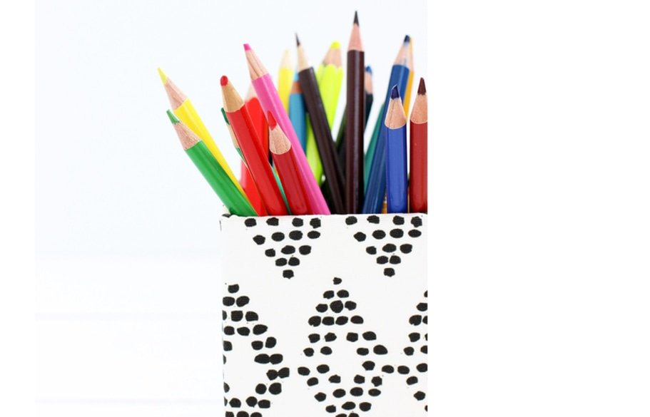Diy fabric covered pencil cup 5