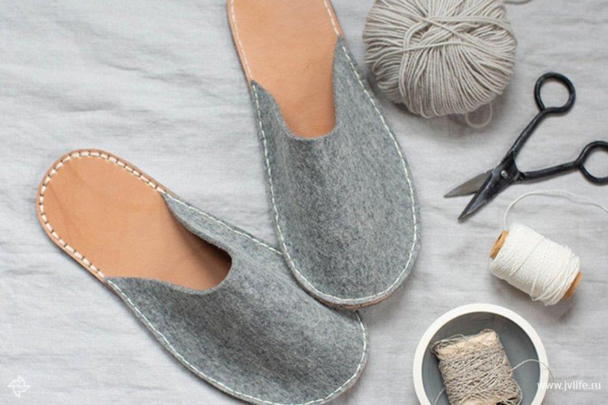 Diy felt leather slippers 1