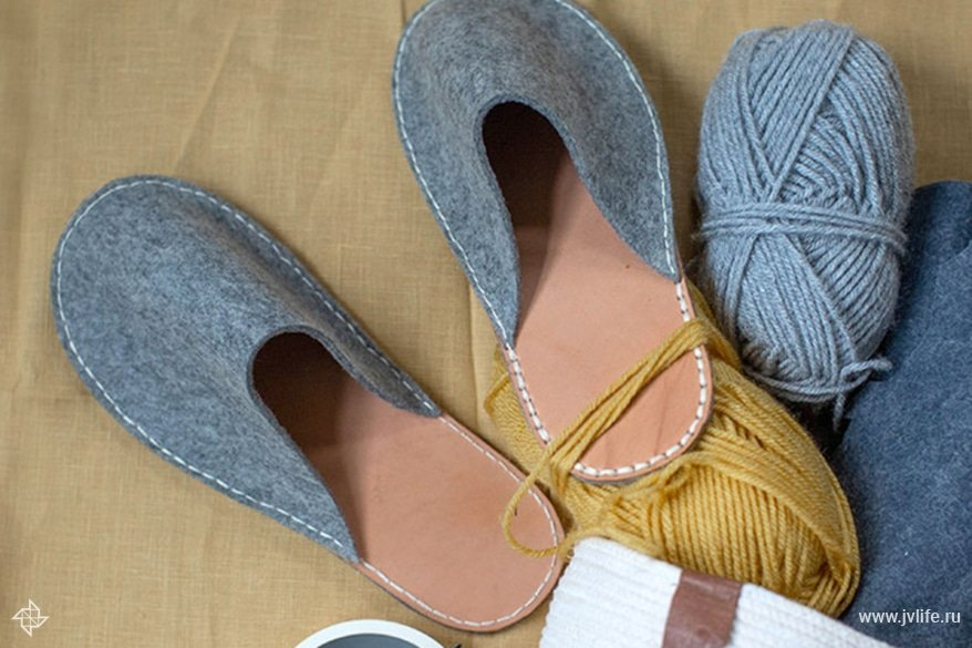 Diy felt leather slippers 2