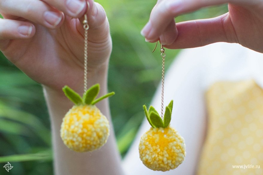 Pineapple pom pom earrings 1