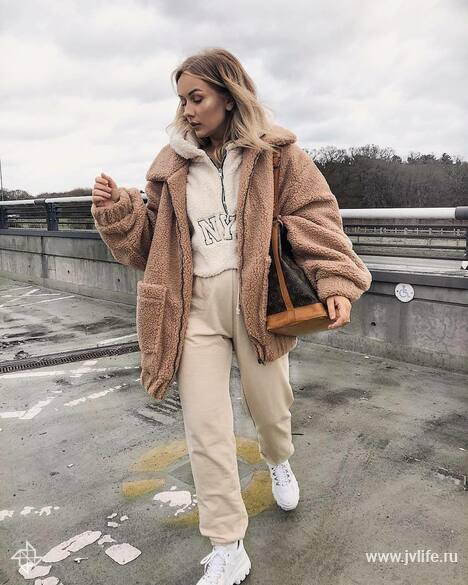 6r19ij l 1350x1350 jacket teddy jacket pretty little thing white shoes platform shoes joggers hoodie louis vuitton bag brown bag shoulder bag
